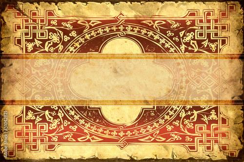 Papiers peints Affiche vintage Vintage Label - Rote Ornamente
