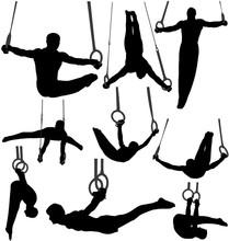 Gymnastics Rings Silhouettes. ...