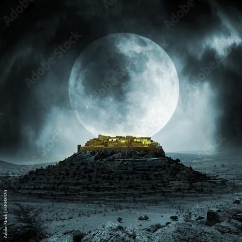 Fotobehang Volle maan Fantasy stronghold