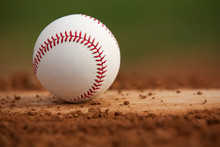 Close Up Baseball On The Pitchers Mound