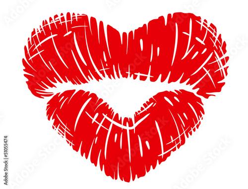 Fotografía Red lips print in heart shape