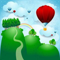 Selo s balonima, fantazijska ilustracija