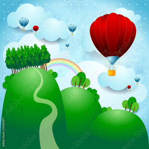 Aluminium Prints Forest animals Countryside with balloons, fantasy illustration