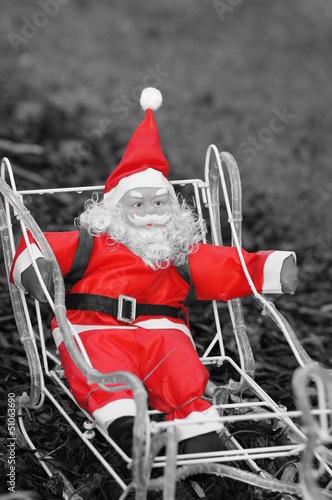 Poster Rouge, noir, blanc Père Noël décoratif