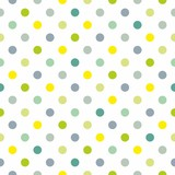 Seamless vector spring pattern blue polka dots white background