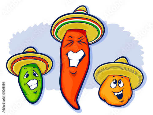 Fotobehang Indiërs Mexican peppers Illustration