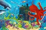 Fototapeta Do akwarium - Cartoon coral reef - illustration for the children