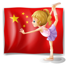 A Gymnast In Front Of The Chinese Flag