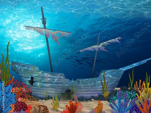 Photo sur Toile Pirates Sunken Ship
