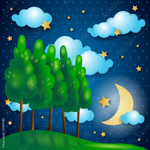 Photo sur Aluminium Forets enfants Nocturnal
