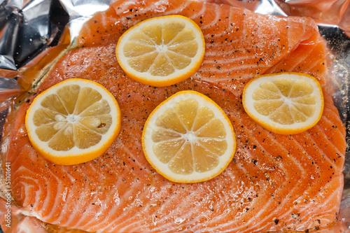 Salmon with orange slices