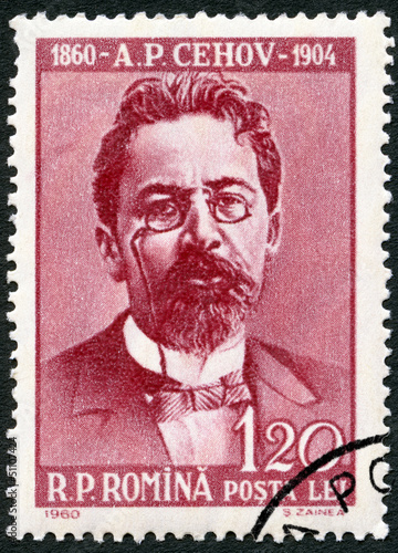 ROMANIA - 1960: shows Anton Pavlovich Chekhov (1860-1904) Canvas Print