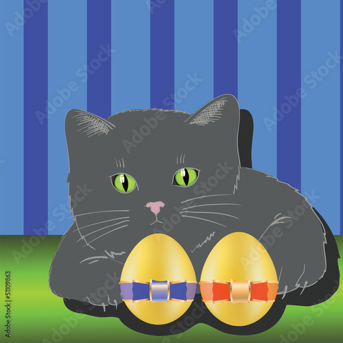 Staande foto Katten cat and two easter eggs