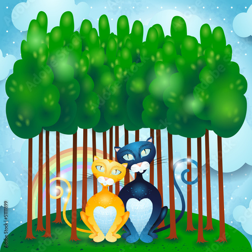 Door stickers Forest animals Cats