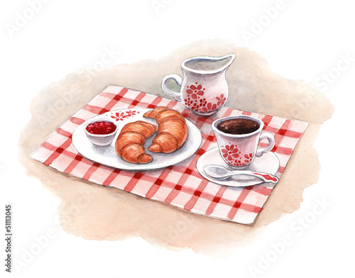Recess Fitting Illustration Paris Watercolor illustration of breakfast with croissants and coffee