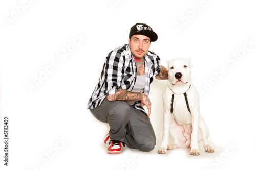 Mann mit Hund Poster
