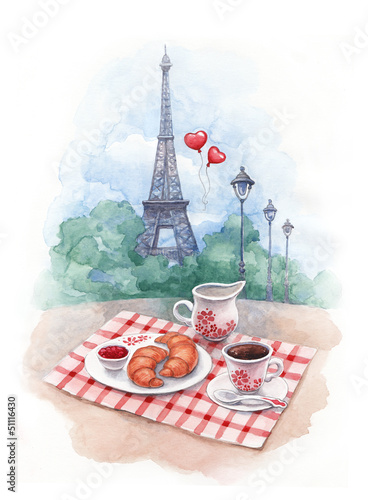Recess Fitting Illustration Paris Watercolor background with illustration of eiffel tower and trad