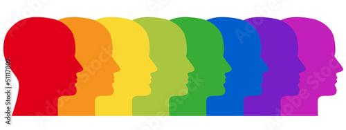 Reihe aus 8 menschlichen Gesichtern in Regenbogenfarben Tapéta, Fotótapéta