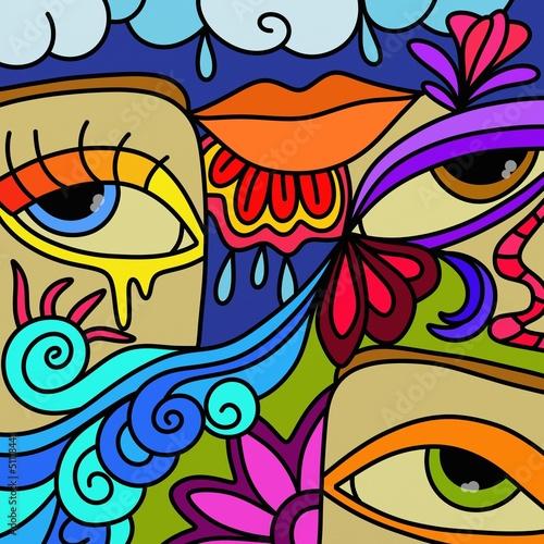 Fotobehang Klassieke abstractie tre occhi