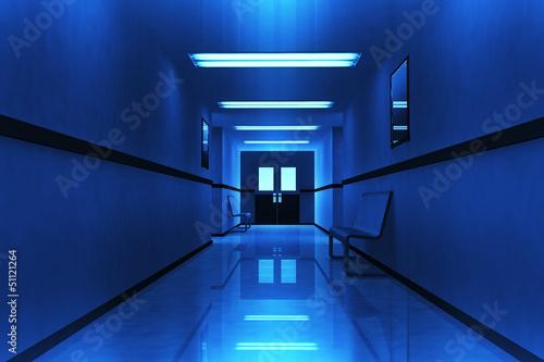 Fotografie, Tablou  Scary Horror Hospital Corridor