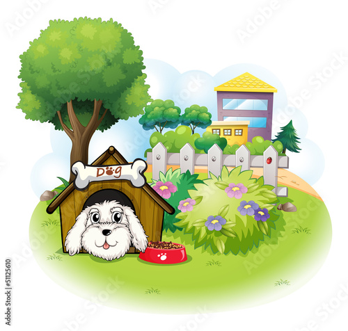 Poster Dogs A white puppy inside a doghouse