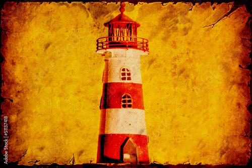 Papiers peints Affiche vintage Retroplakat - Gestreifter Leuchtturm