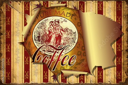 Papiers peints Affiche vintage 3D Aufgerissene Tapete - Kaffee