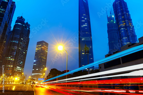 Photo  the light trails in shanghai china