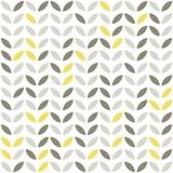 retro roślinny deseń szare i żółte liście na białym tle - 51146868