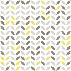 Fototapetaretro roślinny deseń szare i żółte liście na białym tle