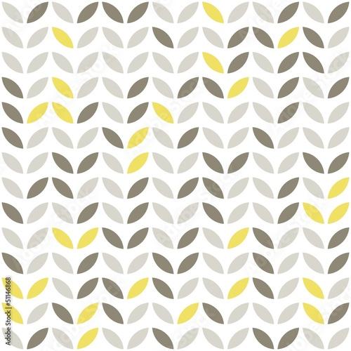 Obraz retro roślinny deseń szare i żółte liście na białym tle - fototapety do salonu