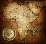 compass on vintage map Africa 1737
