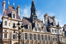 Facade Of Hotel De Ville (City Hall) In Paris