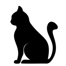 Black Silhouette Of Cat. Vector Illustration.
