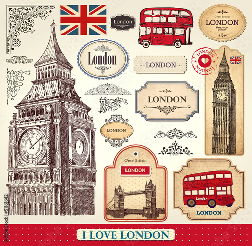 Deurstickers Vintage Poster Vector set of London symbols