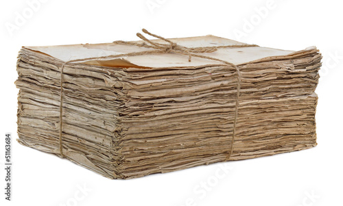Old papers tied isolated Canvas Print