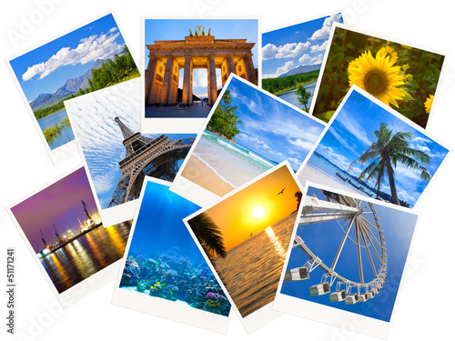 Wallpaper Mural Traveling photos collage isolated on white background