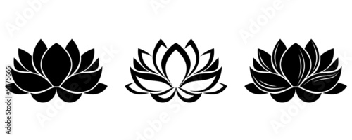 Photographie  Set of three silhouettes of lotus flowers. Vector illustration.