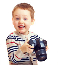 Happy Child Photographer With DSLR Camera, Isolated