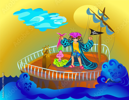 Photo Stands Pirates pirate boy with mermaid in the sea
