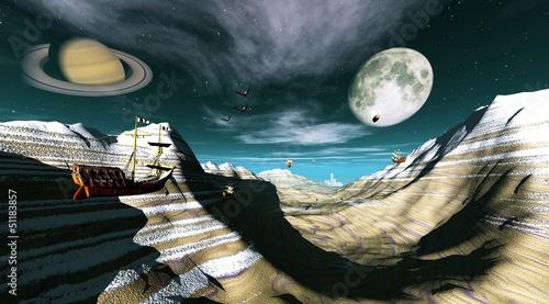 fantasy landscape showing flying ships and saturn