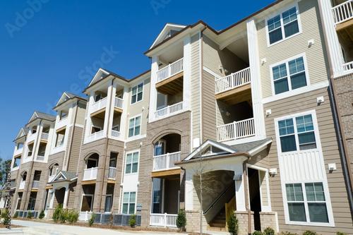 New apartment building in suburban area Canvas Print