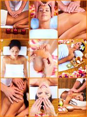 Panel Szklany Do Spa Woman having massage.