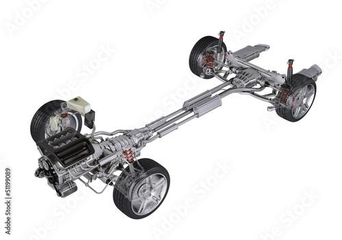 Fotografía  Under carriage technical 3 D rendering, of a generic sedan conte