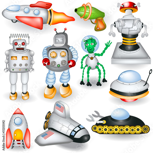 Wall Murals Robots retro future icons