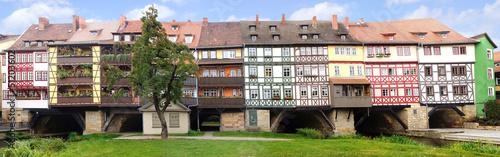 Fotografie, Obraz Picturesque panorama with Merchants' Bridge. Erfurt, Germany.