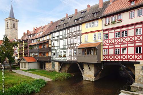 Fotografie, Obraz Merchants' Bridge. Erfurt, Germany.