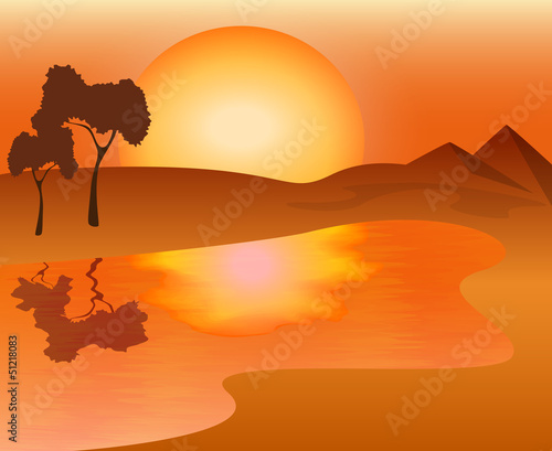 African landscape - sunset on the lake, vector illustration