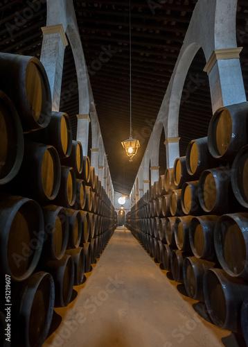 Obraz na płótnie Sherry barrels in Jerez bodega, Spain