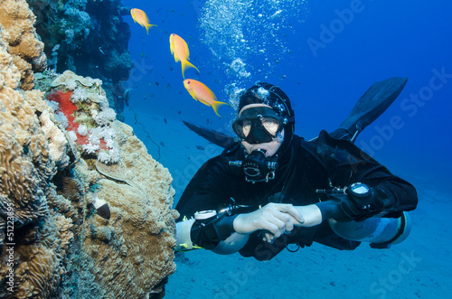 Tuinposter Duiken side mount scuba diver looks at fish in the ocean